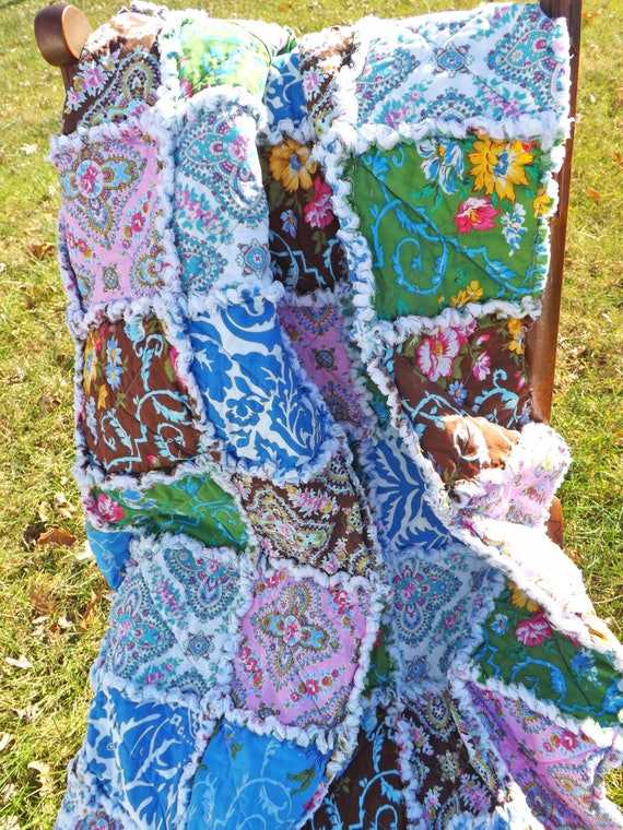 Lap Rag Quilt made with Modern Floral Prints in Blue, Brown, Yellow, Green, and Pink