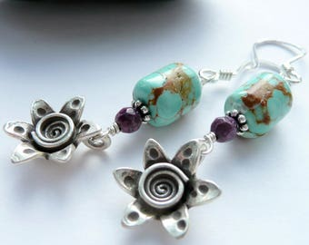 Artisan RARE Number 8 Turquoise Sugilite Sterling Silver Mountain Flower Long Dangle Earrings Tribal Southwestern Earrings Cowgirl Dangles