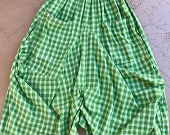 Green plaid lagenlook skirt
