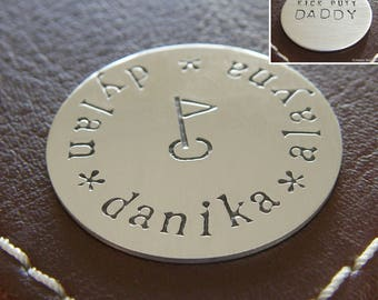 Custom Golf Marker - Personalized Hand Stamped Sterling Silver Keepsake Token - Double-Side Stamping