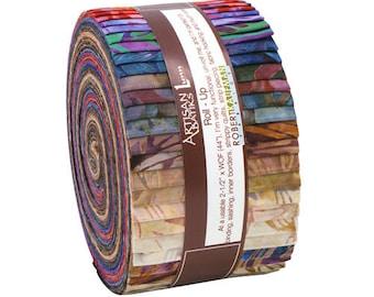 "Robert Kaufman Grove Batiks Roll Up 2.5"" Precut Fabric Quilting Strips Jelly Roll Lunn Studios RU-264-40"