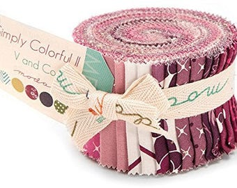 """Moda Simply Colorful Purple Junior Jelly Roll 2.5"""" Precut Fabric Quilting Cotton Strips V and Co 10850JJRP"""