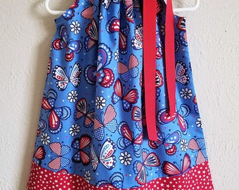 2t Patriotic Dress with Butterflies Pillowcase Dress Girls Dresses red white and blue 4th of July Dress Patriotic Clothes Ready to Ship