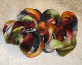 Handpainted Rovings -- Superwash Merino Wool