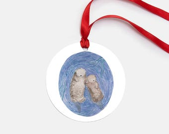 Sea Otters Ornament / Glass Ornament / Ocean Ornament / Pacific Northwest Ornament / Otter Ornament / Gifts for Her / Stocking Stuffer