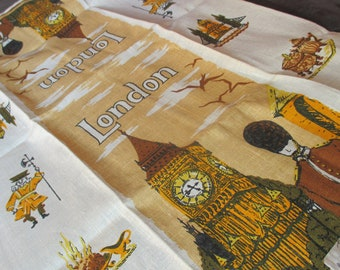Vintage MOD 60s London Souvenir Kitchen Linen Tea Towel Parisian Prints