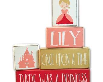little princess baby shower - personalized - little princess - wood sign blocks
