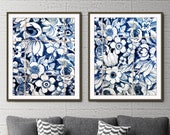 "Blue and white wall art, Lisbon Portugal tiles print, print set of 2, fine art photography set ""Lisbon Tiles 6 & 7"" floral wall art"