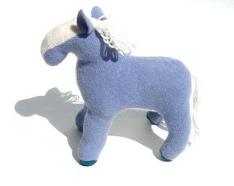 Blue and White Wool Angora Horse