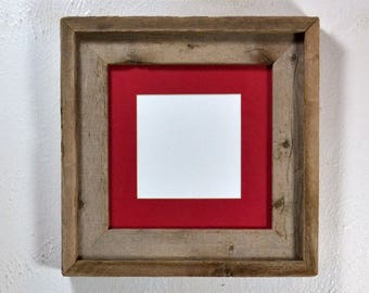Picture frame reclaimed wood with mat for 4x6 5x5 or 6x6 without mat 8x8 complete free US shipping