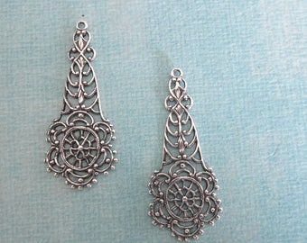 NEW 2 Large Silver Filigree Charms 3866