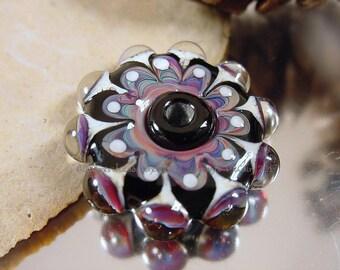 Handmade lampwork glass pendant bead , Artisan glass beads, black beads, blue beads, purple beads, mandala beads, pendant disc beads, SRA