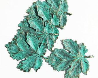 Bulk 20 pcs of Antique Brass Maple  leaf pendant 35x40mm, bluing leaf pendant, Verdigris Patina