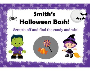 24 Halloween Scratch Off Game Cards - Personalized - Bonfire Party - Pumpkin Patch Party  -Fall Theme