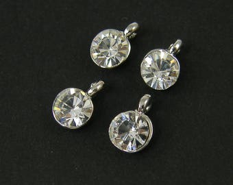 Small Round Rhinestone Dangle Clear Antique Silver Crystal Earring Finding Drop Charm |S23-16|4