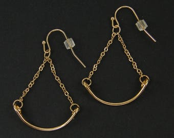 Gold Trapeze Earring Findings, Gold Curved Bar with Chain Earring Dangles Findings |G17-16|2