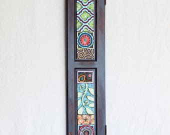 Mosaic Wall Art Horizontal Art or Vertical Wall Art Narrow Wall Art Ceramic Tile Mosaic Art Reclaimed Wood Frame Colorful Pottery Boho Decor