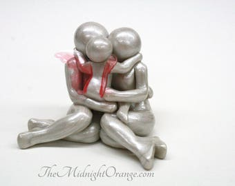 Child Loss Memorial Statue - sympathy gift - Mother Father and Toddler Angel clay sculpture - you choose wing color - made to order