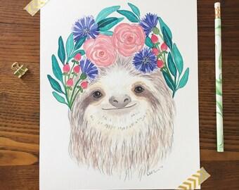 Sloth Art. Watercolor Sloth. Sloth Painting. Boho Nursery. Animal Nursery Art. 8 x 10 Print. Flower Crowns. Children's Decor. Gift Under 20
