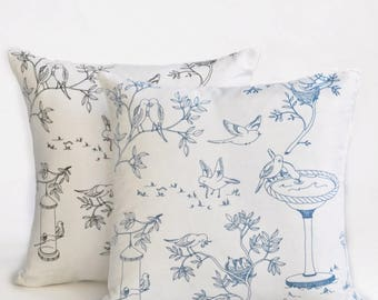 Lovebirds Toile Pillow Cover