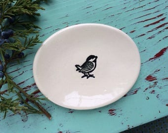 Small Oval Dish with Chickadee, Ring Dish with Chickadee, Trinket Dish with Bird