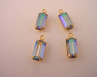 6 vintage glass Swarovski octagon 10x5 Light Blue sapphire AB aurora borealis brass  1 ring set charms