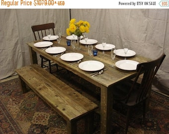 "ON SALE Driftwood Table (72""L x 34""W x 29""H) & Bench (60 x 15 x 16h)"