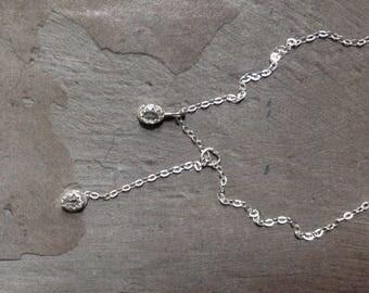 Herkimer Diamond Necklace - Minimalist Necklace - Bezel Necklace -Sterling Silver Lariat Necklace - Simple Modern Necklace - Dainty Necklace