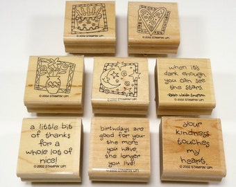 Quick And Cute Wood Mounted Rubber Stamp Set From Stampin Up, Sun And Moon, Heart, Birthday Cake, Vase Of Flowers, Thank You