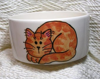 Ginger Striped Tabby Cat Bowl Handmade With and Paw Prints Inside 20 Oz. Ceramic