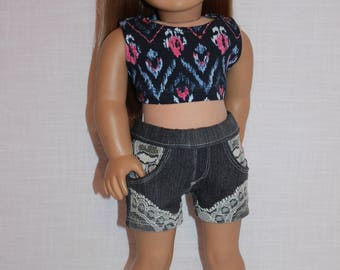 18 inch doll clothes, geometric print crop top, dark wash lace trim denim shorts , Upbeat Petites