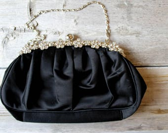 Timeless Rhinestone Purse, vintage Silver and Black Purse, Evening Bag, Bridal Clutch, Bridal accessories, Shimmer and Shine