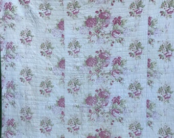 Vintage Hand Quilted Well Loved Bark Cloth Era Pink Floral Whole Cloth Quilt