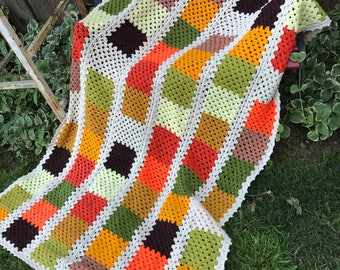 Vintage Hand Crochet Colorful Patchwork Oranges, Browns and Greens Afghan