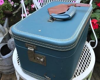Vintage 1960's Era Blue Crown Train Case Suitcase Luggage