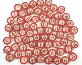 Vintage Wooden Bingo Game Pieces with Red Numbers and Letters Set of 68