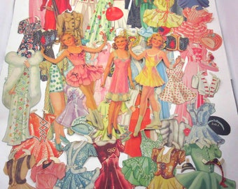 Vintage 1930s Paper Dolls Sonja Henie Teenage Girl Ice Skaters Skating and 51 Outfits