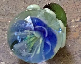 Glass Drop Lampwork Pendant or Bead - Blue Flower by Hannah Rosner