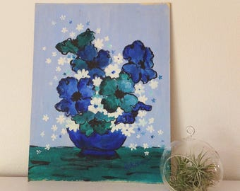 "Vintage 1960's Blue Flower Painting Mid Century Still Life Floral Painting 14"" BY 18"" Painting 60's Art Bouquet Painting Blue Floral"