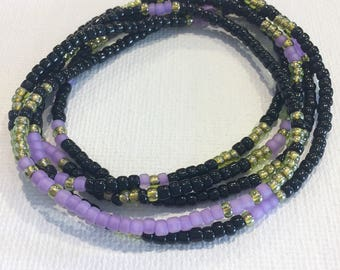 Purple Night Stretch Wrap Bracelet, Necklace, Stackable, Layering Accessory, Jewelry, Peridot, Seed Beads, Black, Purple