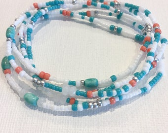 On The Beach Stretch Wrap Bracelet, Necklace, Turquoise, Jade, Orange, White, Stackable, Layering Accessory, Jewelry, Miami Dolphin, Summer
