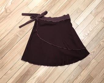 SALE! 70% OFF - Brown Fleece Mini Wrap Skirt