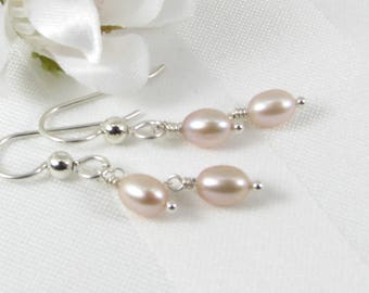 Pink Pearl and Sterling Silver Chain Earrings