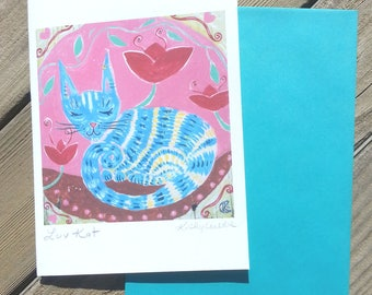 Luv Kat 3 Cards with Matching A-7 Envelopes