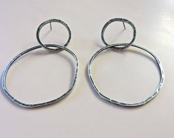 Hammered oxidized sterling silver large hoop circle post earrings
