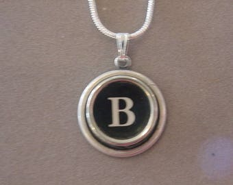 Typewriter key Jewelry Necklace BLACK  LETTER  B - Typewriter Key Necklace - Initial B serif font Initial Necklace B