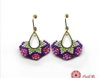 Boucles d'oreilles tissées Miyuki, boucles d'oreilles gouttes,Brickstitch, boucles laiton et rocailles, dormeuses, roses vert violet