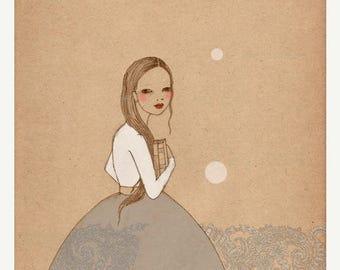 Sale Book Girl 2 print of original drawing