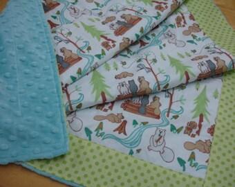 Lazy Beavers Minky Baby Blanket  30 x 40 READY TO SHIP On Sale
