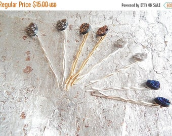 CLEARANCE - 2 blue pink gray faux druzy hairpins, sparkly bobby-pins,  meteorite bobby pins, hair accessory, womens accessory